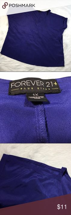 Forever 21+ Purple Cold Shoulder V-Neck Blouse * Forever 21+ Plus Size Open/Cold Shoulder Short Sleeve Blouse * Size 1X * Made of 100% polyester * Pre-owned, but in excellent condition. * Measurements: Underarm to underarm is 30 inches. Length is 29 inches. Waist/bottom hem is 25 inches. Forever 21 Tops Blouses