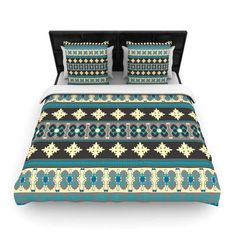 KESS InHouse Borders Blue by Nandita Singh Woven Duvet Cover Size: King/California King
