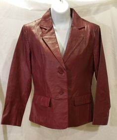Chadwicks women's leather spring jacket size 6 Petite cranberry red  #Chadwicks #BasicJacket