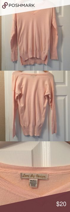 Love by Design v-beck sweater. 100% cotton medium V-neck sweater.  Great condition.   Very soft and comfy.  Soft pink color.  Medium juniors sizing.  I wear small and it fits me well.  From Nordstrom love by design Sweaters V-Necks
