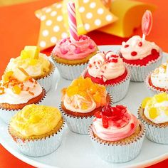 Have kids create their own colorful cupcakes! More birthday cupcakes: http://www.bhg.com/party/birthday/cake/birthday-cupcakes-for-girls/?socsrc=bhgpin062313colorwheel=10