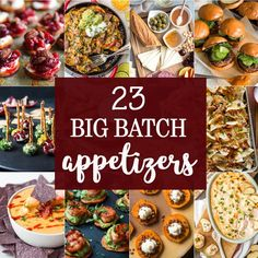 23 BIG BATCH APPETIZERS perfect for feeding a crowd on game day! The BEST appetizer recipes to feed lots of people while tailgating, especially perfect for the SUPERBOWL! Best Appetizer Recipes, Appetizers For A Crowd, Tailgating Recipes, Tailgate Food, Thanksgiving Appetizers, Healthy Appetizers, Yummy Recipes, Crowd Recipes, Gourmet
