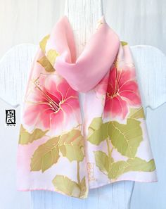 Silk Scarf Hand Painted Pink Hawaiian Hibiscus Silk Scarf. Pink Silk Scarf, Handmade Silk Scarf. Pink Floral Scarf. Approx 8x54 inches. $92