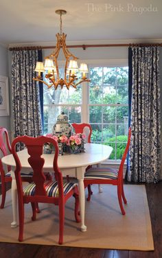 The Pink Pagoda: One Room Challenge Final Week Dining Chair Makeover, Dining Table Makeover, Dining Table Chairs, Furniture Makeover, Lounge Chairs, Dining Room Paint, Dining Room Blue, Living Room Chairs, Dining Rooms