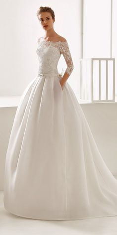 aline with off shoulder lace sleeves rosa clara wedding dresses - Bridal Gowns Wedding Dress Tea Length, Lace Wedding Dress With Sleeves, Dresses With Sleeves, Lace Sleeves, Dress Lace, Wedding Dress Pockets, Sleeved Wedding Dresses, Lace Bride, Rosa Clara Wedding Dresses