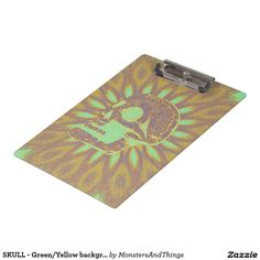 SKULL - Green/Yellow background Rays Clipboard