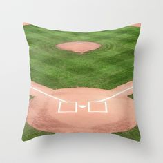 Baseball field /Baseballfeld Throw Pillow by Karl-Heinz Lüpke - $20.00