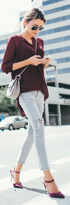 Burgundy is a deep color that can be worn day or night. love the shirt, not the heels or pants