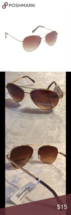 Union Bay Rhinestone Aviator Sunglasses Gold/Taupe Union Bay 100% UV Absorptive, Rhinestone Sunglasses 😎 .  Gold/Taupe/Brown.  New with tags. UNIONBAY Accessories Sunglasses