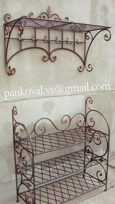 Мои работы Welded Furniture, Iron Furniture, Steel Furniture, Grill Door Design, Door Gate Design, Wrought Iron Decor, Iron Shelf, Tuscan Decorating, Metal Crafts