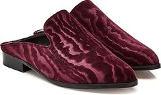 Robert Clergerie Shoes - Exuding rich gothic charm with bordeaux coloring, Robert Clergerie's mules boast a textured velvet upper for the most indulgent feel. Kept sharp with a pointed toe and a small heel, wear them with cropped trousers or girlish skirts to create a modern contrast. - #robertclergerieshoes #redshoes