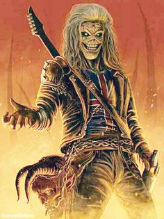 Eddie The Head Vs Lobo Battles Comic Vine, Iron Maiden Eddie Art Gallery - Staircase Hard Rock, Heavy Metal Art, Heavy Metal Bands, Heavy Metal Tattoo, Rock Posters, Band Posters, Pop Rock, Rock And Roll, Iron Maiden Mascot