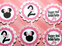 Minnie Mouse Birthday Party Cupcake Toppers.