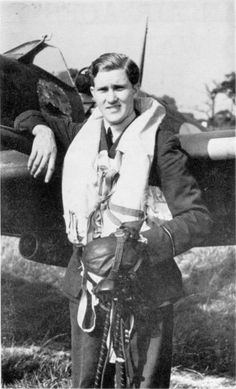 """F/O Jacobus J """"Chris"""" Le Roux, posing with Spitfire Mk Vb DL-T at RAF Hawkinge in mid-1941, was one the highest scoring aces of No 91 Squadron RAF. The South African destroyed 8 enemy aircraft during 200 operational sorties before joining No 111 Squadron RAF in North Africa. He was awarded the DFC in October and a Bar in December 1942."""