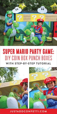 These Super Mario Coin Box Punch Boxes will be the highlight of your Super Mario Birthday Party! Create a whole row of these coin boxes with this step-by-step tutorial. Then just punch them from below—just like in the Super Mario game—and prizes will fall out! What a fun party game! Also, this would be a great way to give party guest's their party favors! This coin box activity also doubles as adorable party decorations too!
