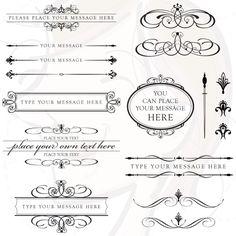 Vintage Calligraphy Clip Art Clipart DIY Wedding Invitation Designs Scrapbook Embellishment Text Dividers Oval Flourish Digital Frame 10136. $6.50, via Etsy.