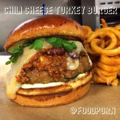Chili Cheese Turkey Burger w/ Curly Fries on the side!