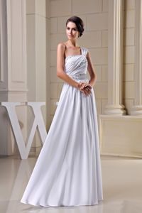 Pleating One Shoulder Wedding Gown Decorated Beading Ribbon
