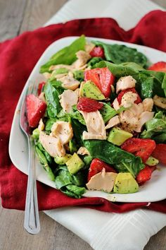Salmon Spinach Salad with Strawberries and Avocado