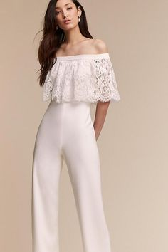 Fashionable, Dance-Friendly Jumpsuits for your reception- white- lace- Anthropologie