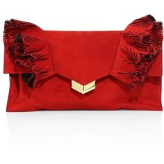 Jimmy Choo Isabella Ruffled Suede Flap Clutch (£920) ❤ liked on Polyvore featuring bags, handbags, clutches, apparel & accessories, red, flap clutch, jimmy choo, jimmy choo purses, jimmy choo handbags and jimmy choo clutches