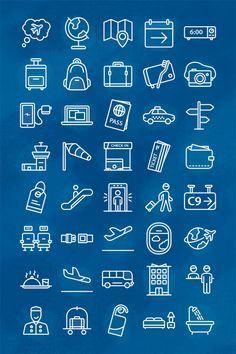 A free icon set for travelling agencies and airlines, including 40 free icons that are all available in AI, EPS, PDF, SVG and PNG formats.