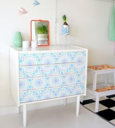 DIY IDEAS FOR GIRLS - Drawers covered with wallpaper