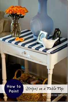 how to paint stripes on top of table