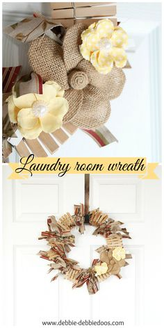 Laundry room clothes pin rag wreath
