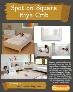 Spot on Square Hiya Crib, modern white cribs that matches most nursery decor theme. White Cribs, Eco Friendly Environment, Convertible Crib, Baby Cribs, Nursery Decor, Toddler Bed, Children, Modern, Furniture