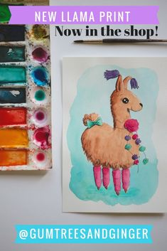 This sweet little llama painting is just what you need for your little girl's room! @gumtreesandginger #llamas