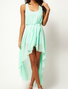 Light Mint Green Scoop Neck Sleeveless Asymmetrical Mid Waist Chiffon Dress