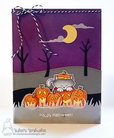 Ink Paws #36 - Happy Halloween by Handmade by Yuki | Newton's Nook Designs: Newton's Boo-tiful Night