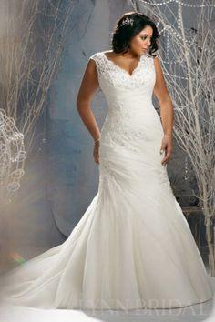 Trumpet V Neck Cap Sleeves Open Back Tulle Applique Plus Size Wedding Dress | LynnBridal.com