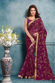 Be the show stopper http://www.thefirstbazaar.com/product/tfb-sahiba-burgundy-brasso-georgette-saree-ak203-2/  #india   #fashion   #women   #georgette   #saree   #thefirstbazaar