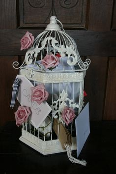 Vintage bird cage for cards