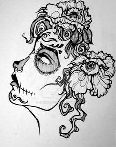 Drawing skull sketches deviantart 66 Ideas for 2019 Day Of The Dead Drawing, Day Of The Dead Skull, Tattoo Drawings, Cool Drawings, Drawing Sketches, Drawing Ideas, Los Muertos Tattoo, Skull Sketch, Sugar Skull Art