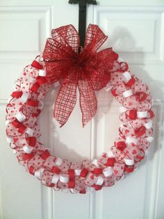 Valentine's Day Wreath  Red and White by ASASSYSOUTHERNSTYLE, $35.00