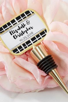 This Personalized Gold Bottle Stopper with Epoxy Dome come adorned with a Modern Classic sticker to create wedding souvenirs that make your celebration unforgettable.   Personalized Modern Classic Gold Bottle Stopper with Epoxy Dome   My Wedding Favors