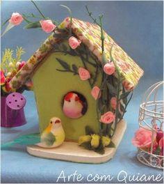 ARTE CON QUIANE - Paps, Moldes, EVA, Felt, costuras, 3D Fofuchas: Finch Cottage y decoración punta