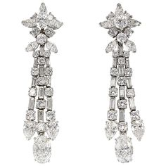 HARRY WINSTON Diamond and Platinum Ear Pendants | From a unique collection of vintage chandelier earrings at https://www.1stdibs.com/jewelry/earrings/chandelier-earrings/