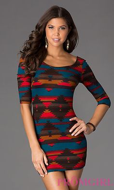 de12a116a833 Short Print Scoop Neck Dress with Sleeves at PromGirl.com  promgirl  dress