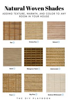 I love adding natural woven shades around my home because they add so much texture and warmth to any room. Here are some of my favorites from Lowe's Home Improvement that you can customize for your home. Woven Wood Shades, Bamboo Shades, Woven Blinds, Curtains With Blinds, Olive Green Curtains, Natural Blinds, Store Venitien, Window Treatments Living Room, Farmhouse Window Treatments