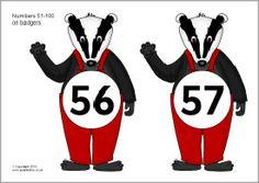 Numbers 51-100 on badgers (SB9460) - SparkleBox