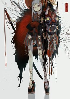 Discover the finest artists from animation, games, illustration, and comics! This time we have the pleasure to introduce you to the art of Nanahara Sie. Japon Illustration, Samurai Art, Japanese Outfits, Anime Demon, Character Design Inspiration, Anime Art Girl, Chinese Art, Japanese Art, Amazing Art