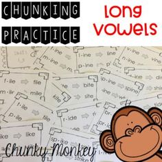 Hundreds of phonics word activities to help students with the chunking reading strategy. Teachers, parents and other paraprofessionals will be teaching children to recognize bigger chunks in words rather than reading sound by sound with the fun ideas in these templates. Great for individual or small group literacy instruction for children of any age. Click the link to help your students meet the Common Core State Standards!