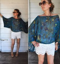 Silky Floral Blouse Bell Sleeves // Angel Wings by LaDeaDeiSogni, $38.00