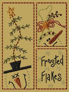 PK030 Frosted Flakes - 4x4 Primitive Snowmen Machine Embroidery Design-Prim Sampler [] - $4.00 : Primitive Keepers, Prim Machine Embroidery Designs