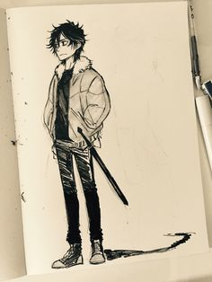 It's October and Inktober. I don't mind how it is difficult for me to draw with ink. Practice.Practice…