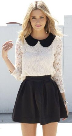 skirt, collared dress, skater skirt, blouse, black and white, black, white